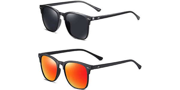 Pack 2 gafas de sol polarizadas estilo Wayfarer baratas