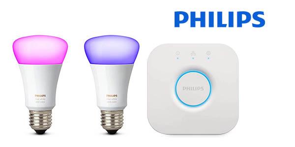 philips hue White and Color Ambiance kit de 2 bombillas E27 con puente barato