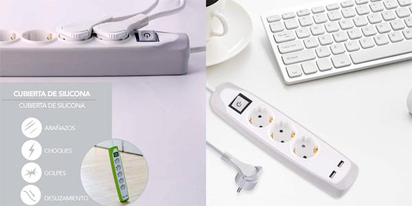 Regleta Electraline Gummy 62153 con 3 enchufes 2 USB y recubrimiento de silicona chollo en Amazon