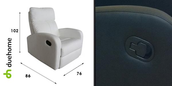 Sillón relax reclinable en color blanco de Due Home chollo en eBay