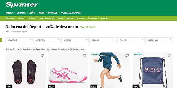 Sprinter Quincena del deporte ofertas en ropa y zapatillas septiembre 2018