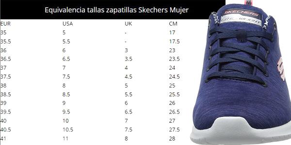 Guía de Tallas Zapatillas deportivas Skechers Ultra Flex-First Choice en color azul para mujer chollo en Amazon