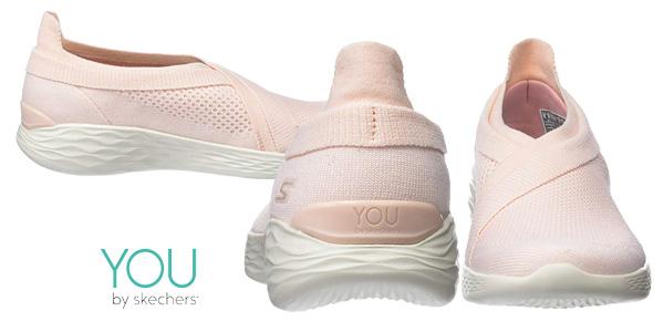 Zapatillas sin cordones Skechers You Luxe Rosa para mujer chollazo en Amazon