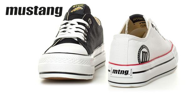 Zapatillas Mustang Canvas en blanco o negro para mujer chollo en eBay