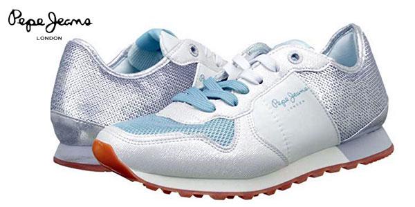 Zapatillas deportivas Pepe Jeans Verona W Sequins Silver para mujer baratas en Amazon