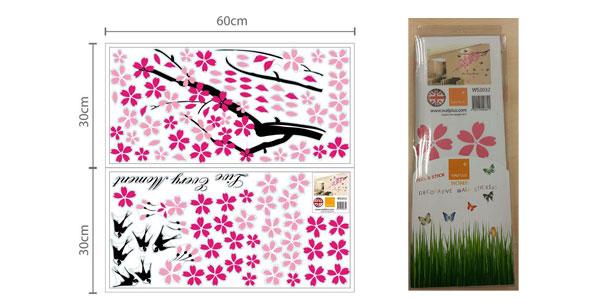 Adhesivo decorativo para la pared Walplus con diseño de árbol en flor y golondrinas chollazo en Amazon