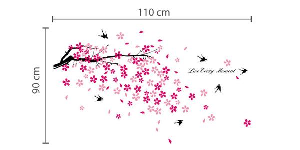 Adhesivo decorativo para la pared Walplus con diseño de árbol en flor y golondrinas chollo en Amazon