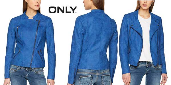 Chaqueta Biker Only AVA en color azul para mujer barata en Amazon