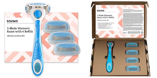 Chollo Pack Amazon Solimo de Maquinilla de afeitar de 5 hojas con 4 recambios para mujer