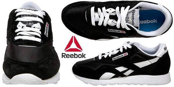 Chollo Zapatillas de deporte Reebok Classic Nylon de color negro para mujer