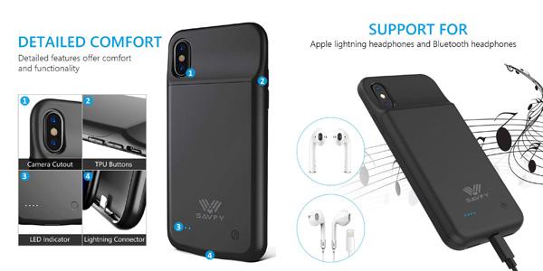 Funda SAVFY con batería integrada de 3200mAh para iPhone X chollazo en Amazon