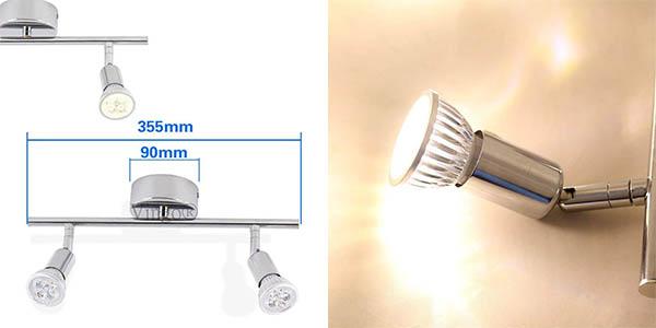 lámpara con focos LED orientables GU10 con genial relación calidad-precio