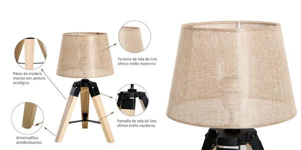 Lámpara de mesa moderna HomCom con pie trípode y casquillo E27 chollo en eBay