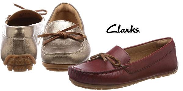 Mocasines de piel Clarks Dameo Swing en marrón dorado metalizado o rojo burdeos chollazo en Amazon