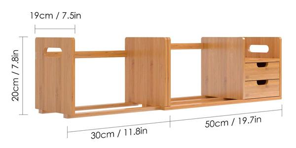 Organizador extensible Homfa de madera de bambú para escritorio chollo en Amazon
