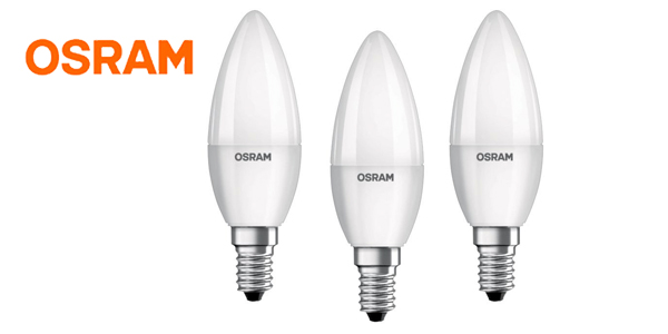 Pack 3 bombillas led Osram vela barato 40W E14 barato en Amazon