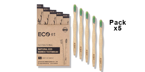 Pack de 5 cepillos de dientes de bambú ECOet barato en Amazon