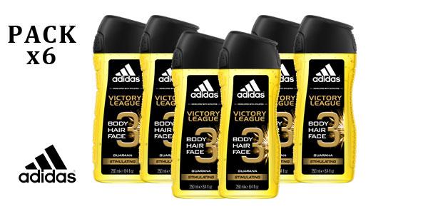 Pack 6 botes de gel de ducha Adidas Victory League Stimulating 3in1 barato en Amazon