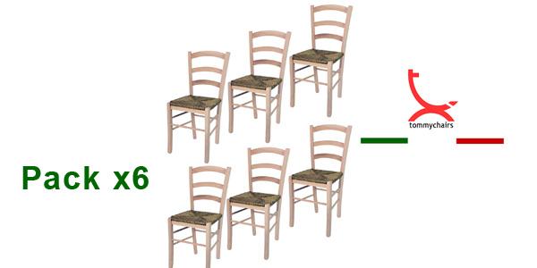 Set de 6 sillas de estilo clásico Paesana 32 by Tommychairs en madera natural de haya barato en Amazon