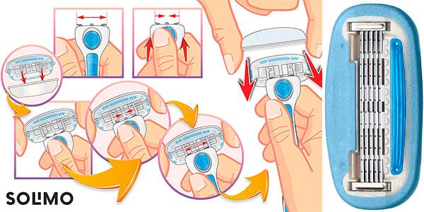 Pack Amazon Solimo de Maquinilla de afeitar de 5 hojas con 4 recambios para mujer barato