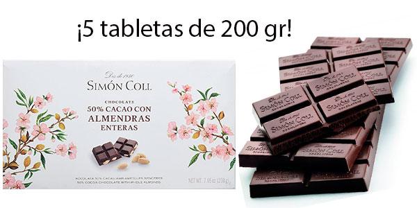 Chollo Pack de 5 tabletas Simón Coll de chocolate 50% con almendras (200 g)