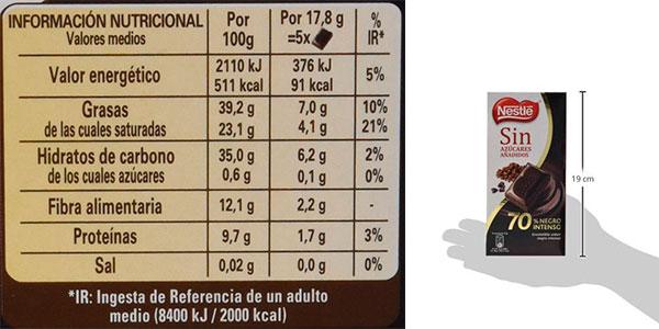 Pack de 14 tabletas de chocolate negro Nestlé 70% sin azúcar barato