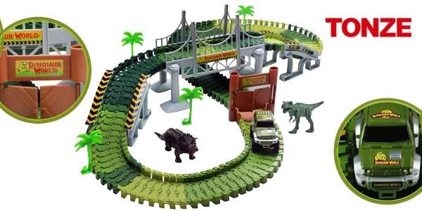 Pista coches flexible Tonze tipo Jurassic Park barata en Amazon