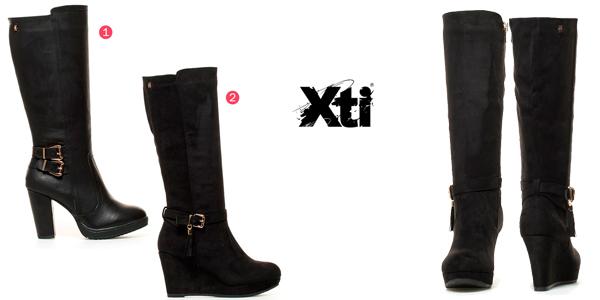 Botas altas Xti Lena de tacón o de cuña en color negro para mujer baratas en eBay