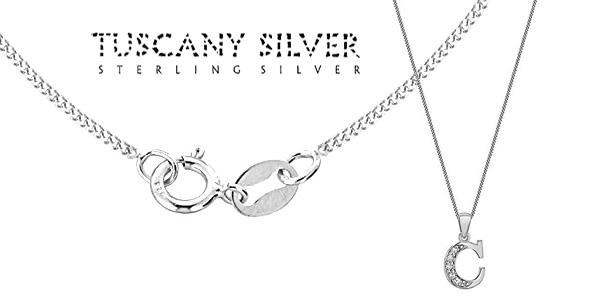 Cadena de plata con colgante de inicial Tuscany Silver bañado en rodio y con circonitas chollazo en Amazon