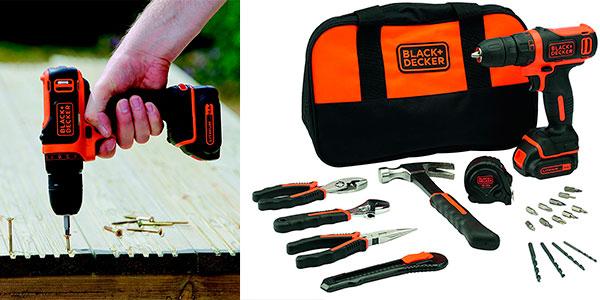 Chollo Taladro Atornillador Black+Decker BDCDD12HTSA-QW con 20 herramientas