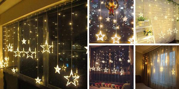 Cortina de luces LED Salcar con diseño de estrellas para Navidad chollazo en Amazon