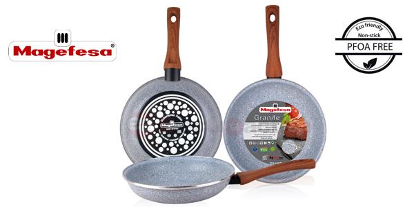Juego 3 sartenes Magefesa antiadherentes de granito 18-20-24 libres PFOA todo tipo cocinas barato en eBay