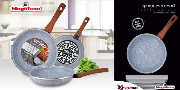Juego 3 sartenes Magefesa antiadherentes de granito 18-20-24 libres PFOA todo tipo cocinas chollo en eBay