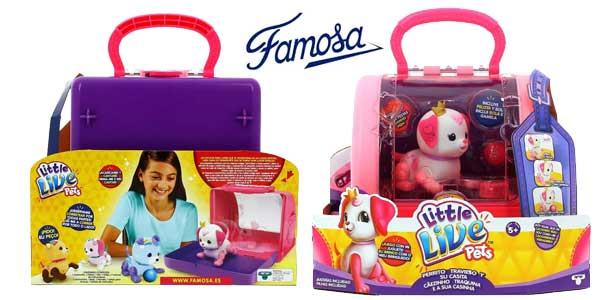 Perrito travieso Little Live Pets con transportín de Famosa 700014380 chollo en Amazon