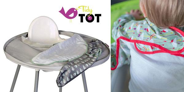 Kit bandeja y babero Tidy Tot en verde vivo o en gris chollo en Amazon