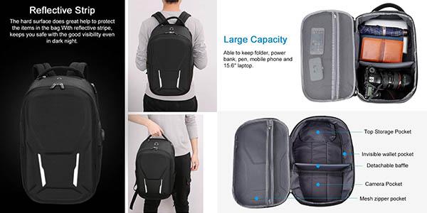 mochila acolchada para portátil con carga USB relación calidad-precio genial