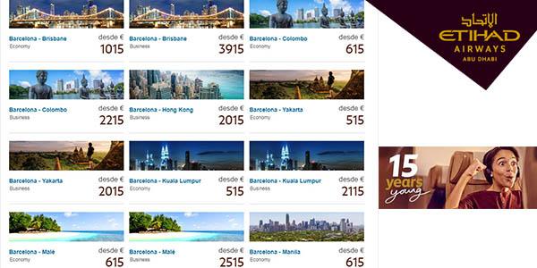 ofertas para volar a Asia y Oceanía Etihad Airways 15 aniversario