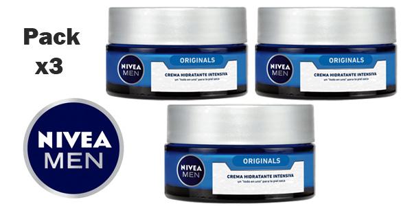 Pack x3 Crema Hidratante Intesiva Originals NIVEA MEN Protege & Cuida de 50 ml barato en Amazon
