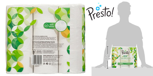 Pack 36 rollos Papel higiénico Presto! de 3 capas ECO chollo en Amazon