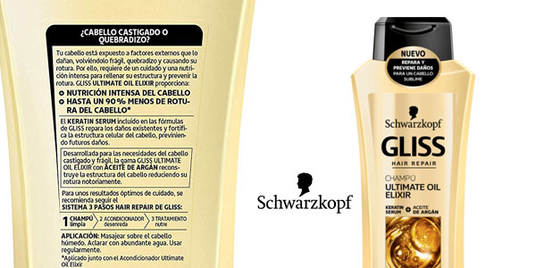 Pack de 6 Botes de Champú Gliss Ultimate Oil Elixir x250 ml chollo en Amazon