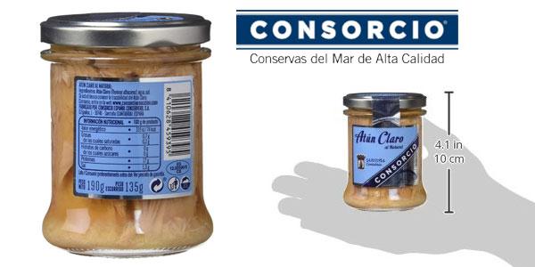 Pack x6 tarros Consorcio Atún Claro Natural 195gr/ud. chollo en Amazon
