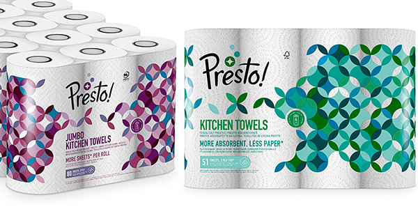 Pack de 18 rollos de papel de cocina Amazon Presto! de triple capa barato