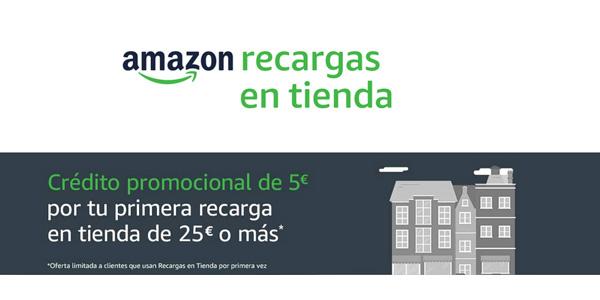 Promoción 5€ gratis en Amazon al comprar tarjeta recarga de 25€ en tienda