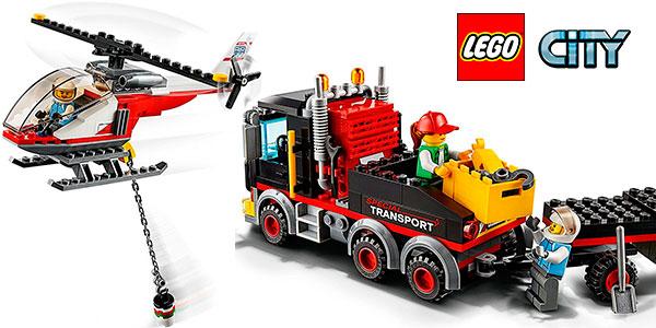 Set Camión de transporte y helicóptero LEGO City con 2 minifiguras barato