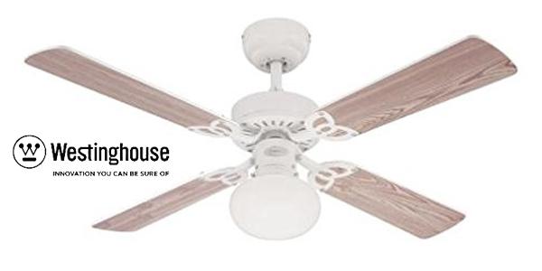 Ventilador de techo con lámpara E27 Westinghouse Vegas de aspas reversibles barato en Amazon