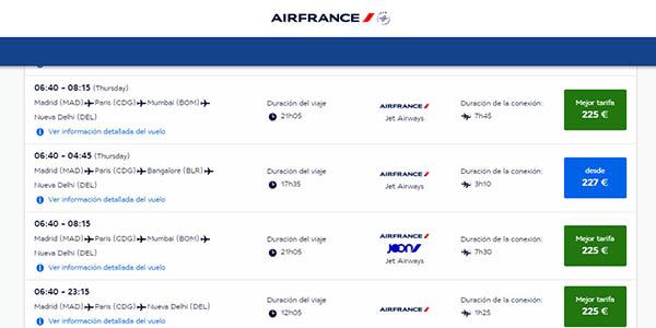 Air France vuelos baratos Delhi Bombay diciembre 2018