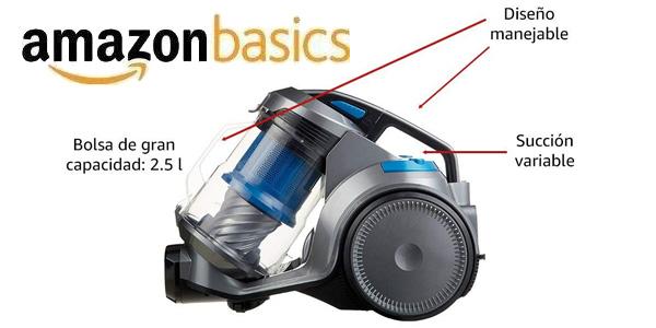 Aspiradora cilíndrica sin bolsa AmazonBasics de 700W y 2,5L chollo en Amazon