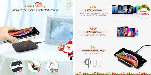 Cargador inalámbrico CHOETECH con tecnología Qi chollo en Amazon