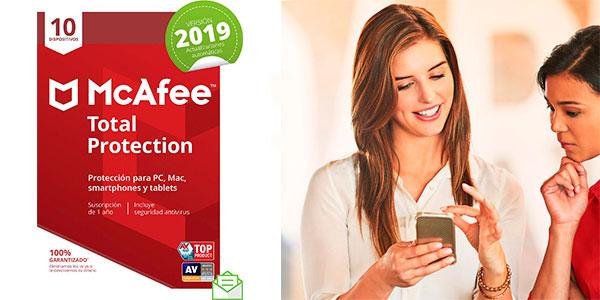 Chollo Antivirus McAfee Total Protection 2019 para 10 dispositivos