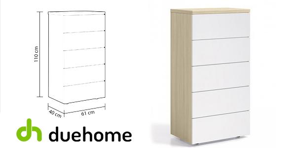Cómoda dormitorio sinfonier Duehome blanco y madera nature barata en eBay
